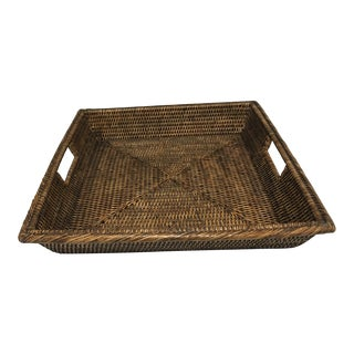 Dark Brown Rattan Square Tray For Sale