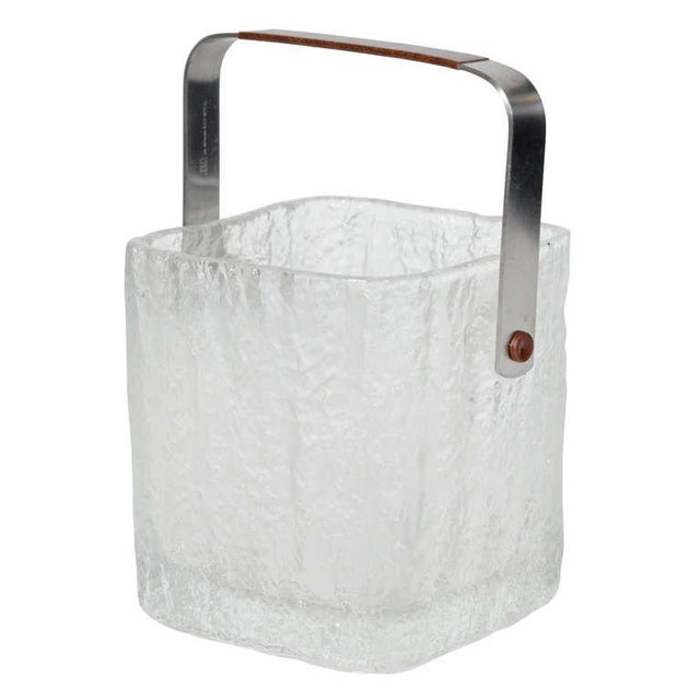 Vintage Ice Bucket With Textured Ice Cube Glass Design For Sale - Image 10 of 11