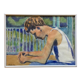 1930 Watercolor Portrait of a Young Man on a Porch by Charles Downing Lay For Sale