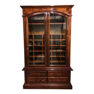 1950s English Burl Wood Gentlemen's Armoire For Sale