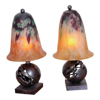 Pair of Edgar Brandt & Daum Art Deco Table Lamps For Sale