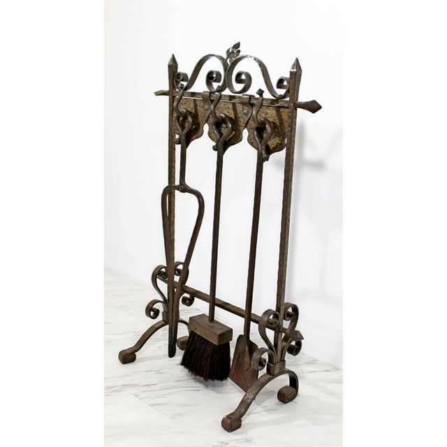 1940s 1940s Vintage French Art Deco Wrought Iron Fireplace Tool Set - 4 Pieces For Sale - Image 5 of 10