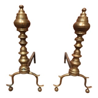 18th-Century Boston Federal Brass Andirons For Sale