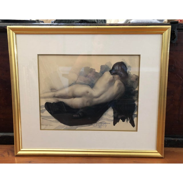 Gray 1939 Vintage Original Lev Tchistovsky Reclining Nude Watercolor Painting For Sale - Image 8 of 8