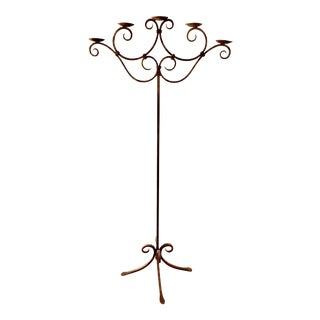 1920s Wrought Iron Floor Standing Candelabra For Sale