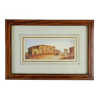 French Watercolor Painting of Montalvan Spain For Sale