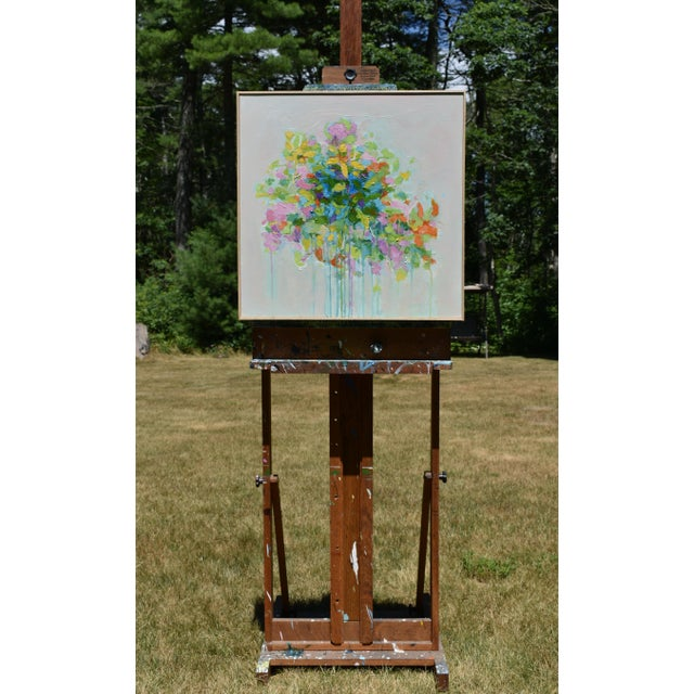 """Abstract Abstract """"Bouquet on Light Gray Ground"""" Painting by Stephen Remick For Sale - Image 3 of 11"""