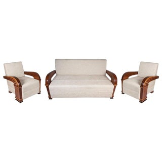 Art Deco Upholstered Teak Living Room Set of Loveseat & Pair of Chairs For Sale