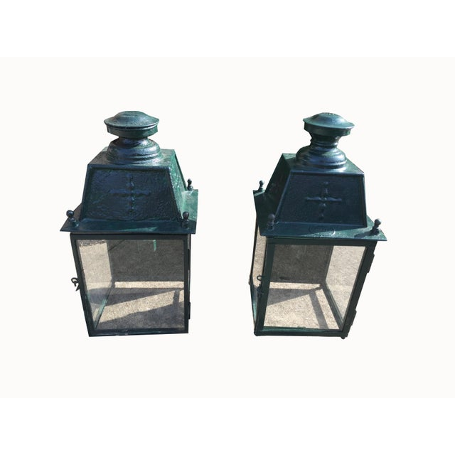 French Green Metal Exterior Wall Lantern, C.1900 - a Pair For Sale - Image 10 of 10