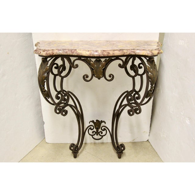 Brown Wrought Iron Wall-Mounted Demilune Table For Sale - Image 8 of 8