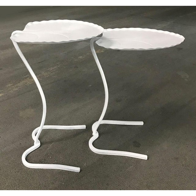 """Set of 1960s iron frame """"Lily Pad"""" patio nesting tables by Salterini. Perfect height for drinks. This set has been..."""