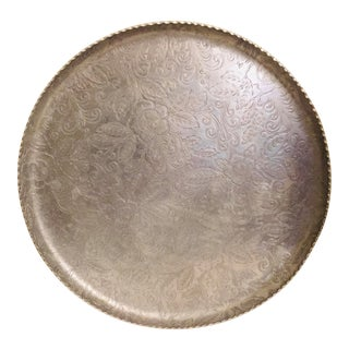 1940s Art Deco Federal Silver Co. Round Aluminum Tray For Sale