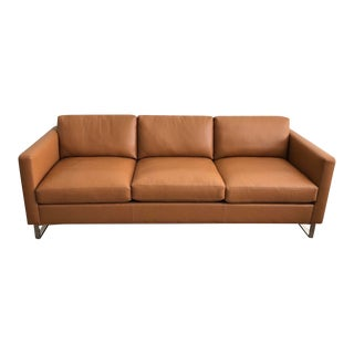 Mid-Century Modern Milo Baughman for Thayer Coggin Brown Leather Sofa For Sale