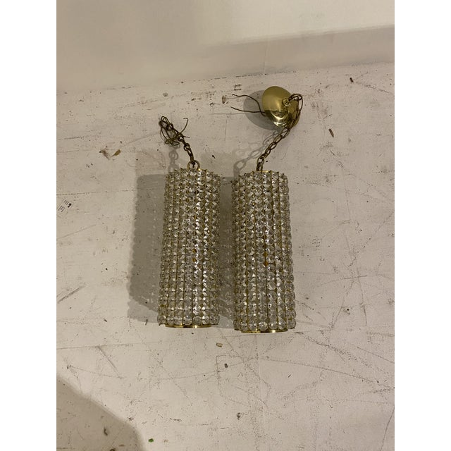 1940s Mid-Century Crystals Light Fixtures - a Pair For Sale - Image 5 of 7