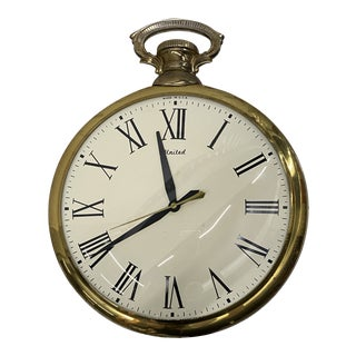 Vintage Large Pocket Watch-Style Clock For Sale