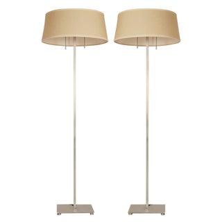 Stewart Ross James for Hansen Satin Steel Floor Lamps - a Pair For Sale