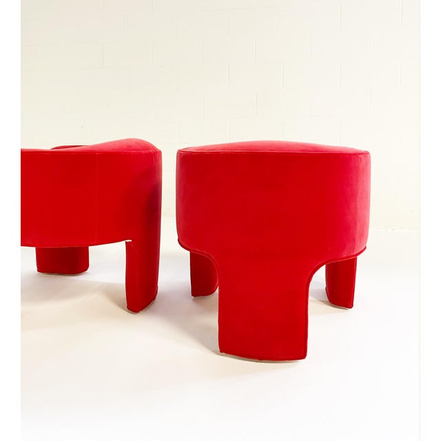 Red Vladimir Armchairs Restored in Loro Piana Velvet - a Pair For Sale - Image 8 of 11