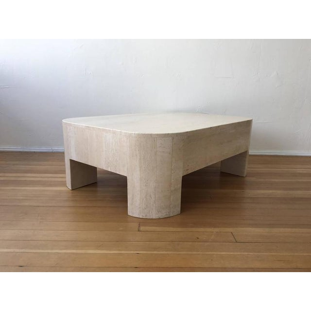 Tan Polished Italian Travertine Cocktail Table For Sale - Image 8 of 9