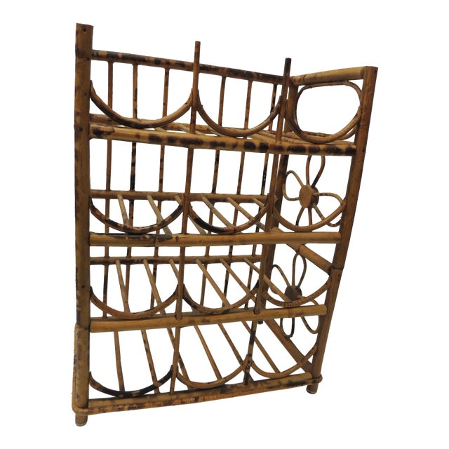 Vintage Faux Tortoise Bamboo Wine Rack For Sale