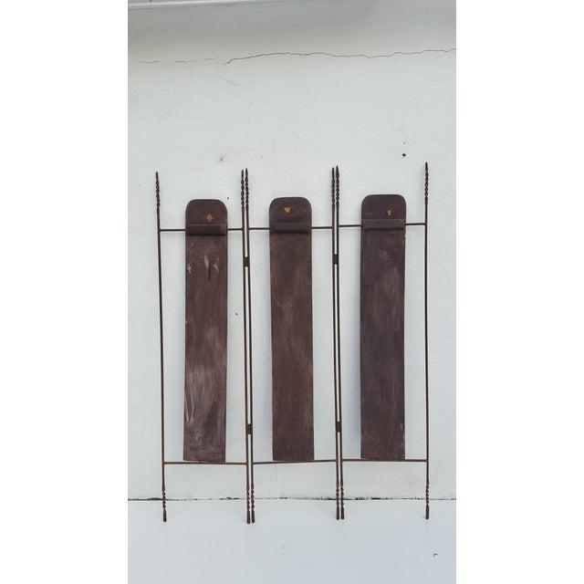 Vintage Metal & Carved Wood Panels Room Divider Screen For Sale - Image 4 of 9