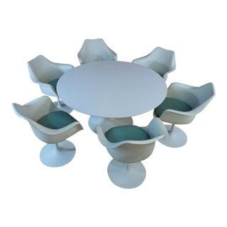 "1950s Mid-Century Modern Saarinen Tulip 54"" Dining Set - 7 Pieces For Sale"