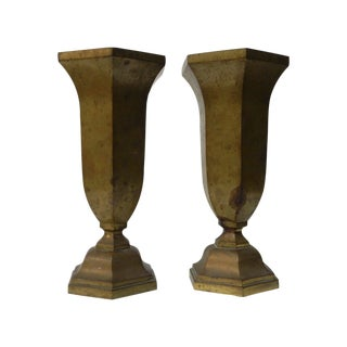 Heavy Bronze Vases - A Pair For Sale