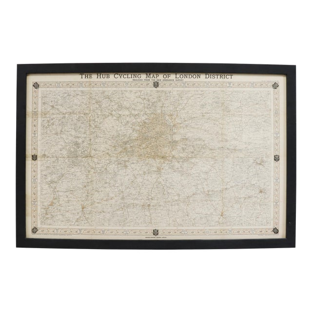 """Vintage London Original """"The Hub Cycling Map London District"""" Map Framed For Sale"""