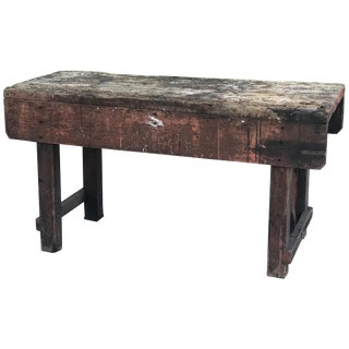 Late 19th Century Rustic Industrial Work Table From France For Sale