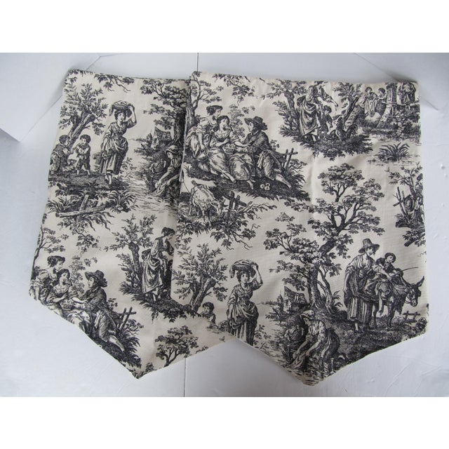 2000s Vintage Black & White Toile Window Valences - A Pair For Sale - Image 5 of 5