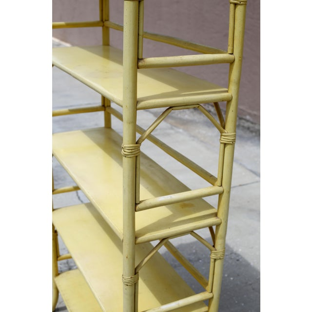 Vintage Yellow Rattan Etagere - Heavy For Sale - Image 9 of 12