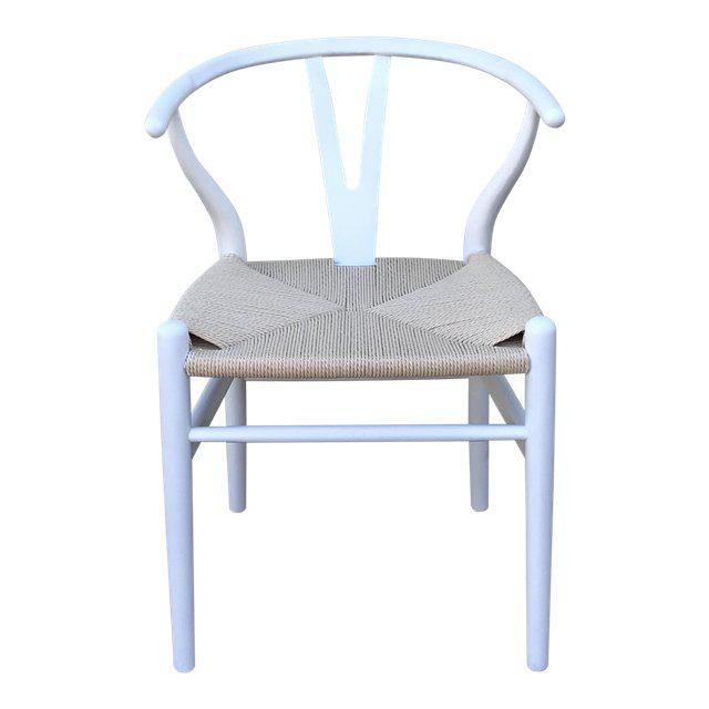 1970s Vintage White Wishbone Chairs - Set of 4 For Sale - Image 4 of 12