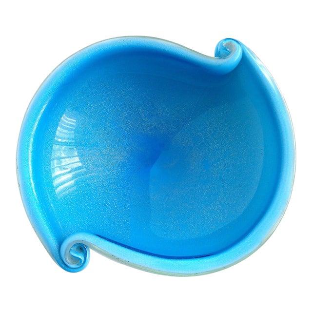 Murano Vintage Cobalt Blue White Gold Flecks Italian Art Glass Scroll Shell Bowl Dish For Sale