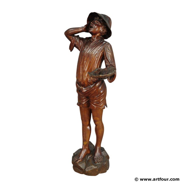 Antique Wooden Carved Statue Of A Young Fisherman For Sale - Image 9 of 9