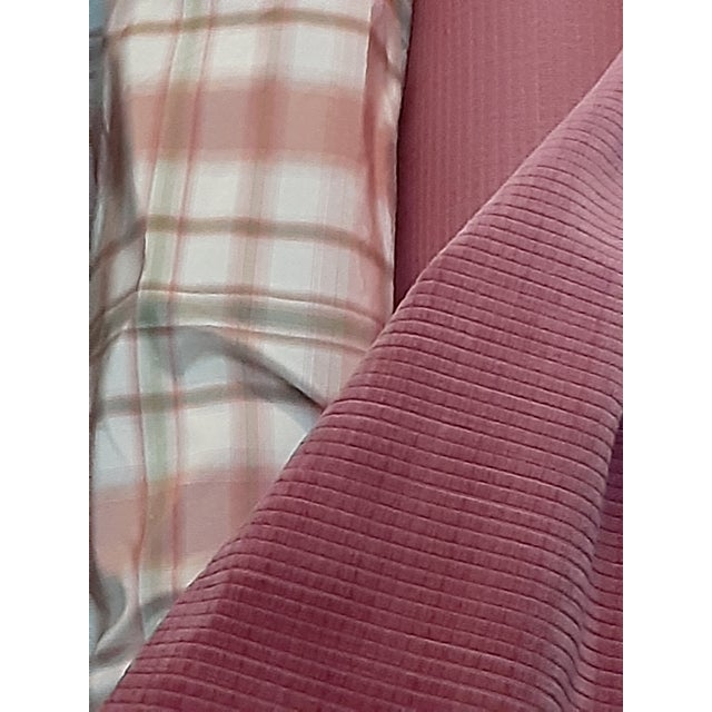 Pindler and Pindler Designer Silk Infused Woven Raspberry Pink and Light Green on Cream Woven Plaid - 10 Yards For Sale - Image 10 of 11