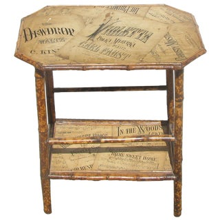 19th C. Antique English Bamboo Table With Decoupage For Sale