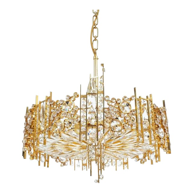 Palwa Pair Golden Brass Crystal Glass Encrusted Chandeliers, Germany 1960 For Sale