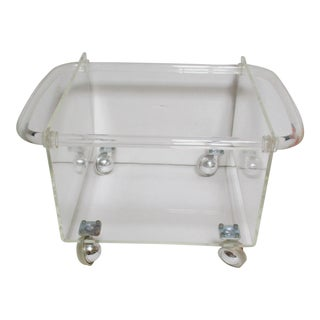 Mid-Century Modern Solid Lucite Record Holder Thick Dorothy Thorpe Style Handles Rolling Rack For Sale