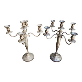 Vintage Silverplate 5-Arm Candelabra - a Pair For Sale