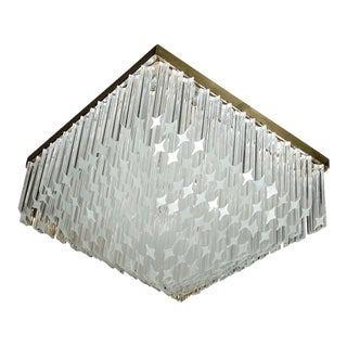 Mid-Century Modernist Crystal Flush Mount Chandelier by Camer