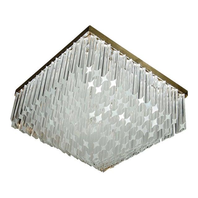 Mid-Century Modernist Crystal Flush Mount Chandelier by Camer For Sale