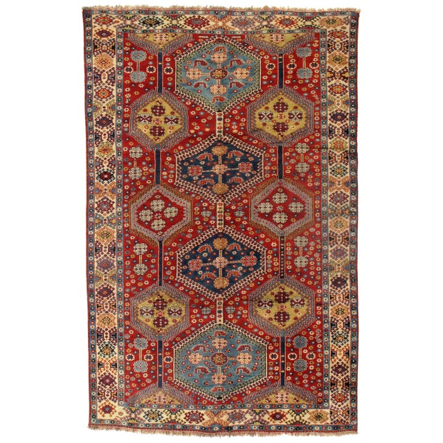 1950's Antique Persian Yalameh Area Rug- 6′6″ × 10′2″ For Sale