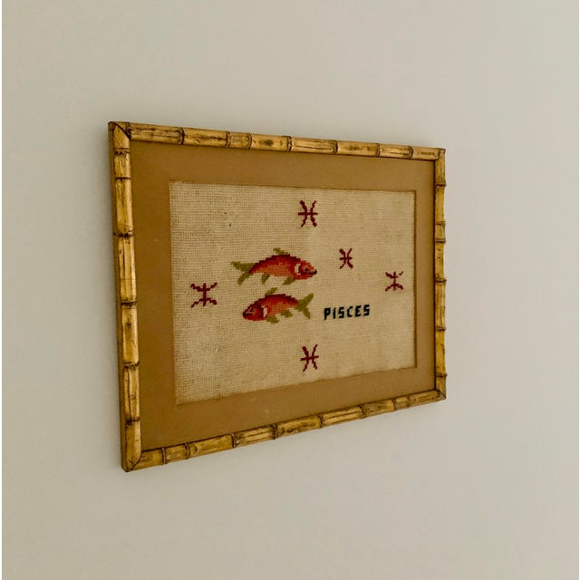 Vintage Pisces Astrology Needlepoint With Gold Faux Bamboo Frame For Sale - Image 4 of 7