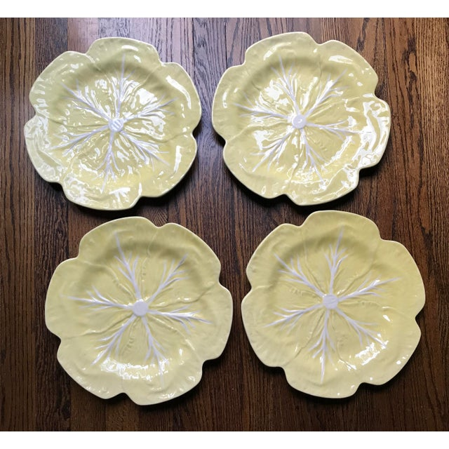 Yellow Vintage 1970s Bordallo Pinheiro Yellow Cabbage Leaf Chargers - Set of 4 For Sale - Image 8 of 9