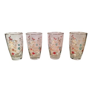 Mid-Century Gold Trim Tumblers - Set of 4 For Sale