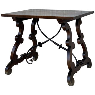 19th Century Spanish Side Table With Hand Carved Lyre Leg and Iron Stretcher For Sale