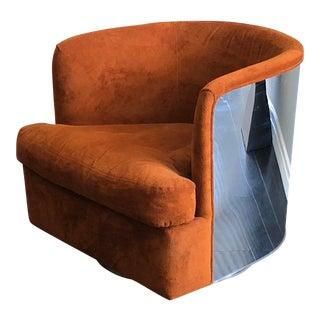 Milo Baughman Chrome Wrapped Barrel Club Chair