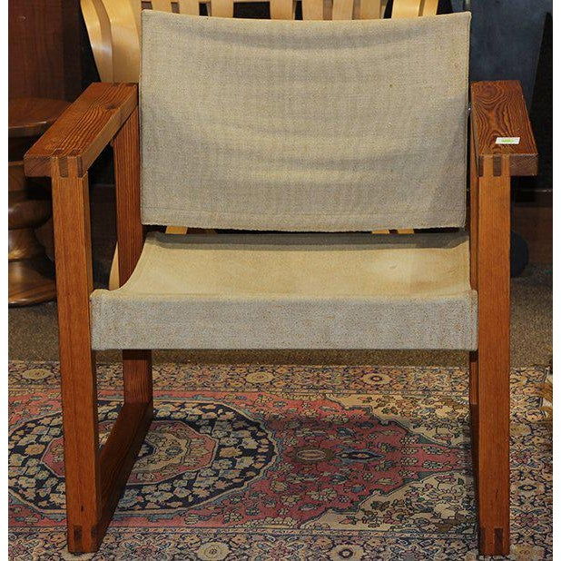 1970s 1970s Finland Modern Sling Chair With Oak Plank Arms For Sale - Image 5 of 5