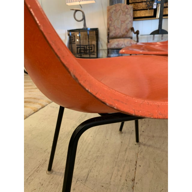 1960s Set of 3 Bright Orange Mid Century Modern Shell Eames Chairs For Sale - Image 5 of 13