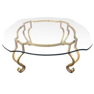 Wrought Iron French Gilt Coffee Table Attributed to Maison Ramsay For Sale