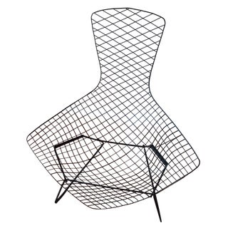 Knoll Bertoia Black Metal Bird Chair For Sale